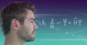 Man looking at equation with flare and gradient background. Digital composite of Man looking at equation with flare and gradient background Stock Image