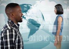Man looking forward at digital woman. Digital composite of Man looking forward at digital woman Stock Photos