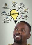 Man looking up at light bulb idea. Digital composite of man looking up at light bulb idea Stock Photos