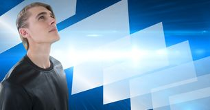 Man looking up with rectangle perspective background. Digital composite of Man looking up with rectangle perspective background Royalty Free Stock Photo
