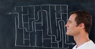 Man maze background. Digital composite of Man maze background stock illustration