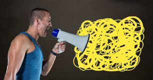 Man shouting in megaphone with yellow scribble doodles. Digital composite of Man shouting in megaphone with yellow scribble doodles Royalty Free Stock Images
