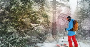 Man skiing in forest. Digital composite of man skiing in forest Stock Photography