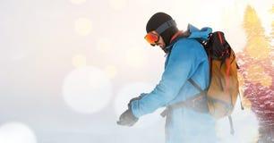 man skiing on ski slope royalty free stock image