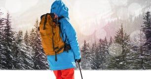 Man skiing on slope Royalty Free Stock Photo