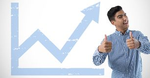 man smiling wit thumbs up and graph royalty free stock photos