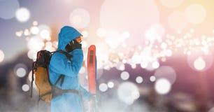 man standing on ski slope calling royalty free stock photos