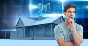 Man thinking and House with sky interface glowing stock photography