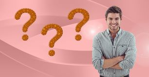 Man thinking with orange thatched question marks. Digital composite of Man thinking with orange thatched question marks Stock Images