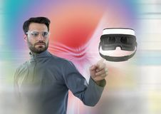Man touching and interacting with virtual reality headset with transition effect Stock Image