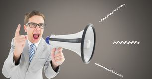 Man using megaphone with illustrations. Digital composite of man using megaphone with illustrations Royalty Free Stock Images