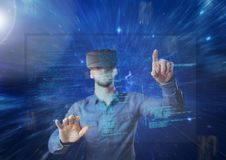 Man using vr headset with interface. Digital composite of man using vr headset with interface royalty free stock photo