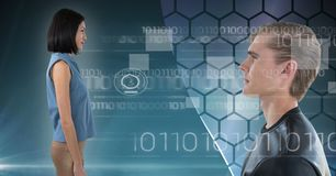 Man and woman looking forward in digital world. Digital composite of Man and women looking forward in digital world Stock Photography