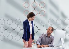 Man and woman meeting with mind map and computer Stock Images