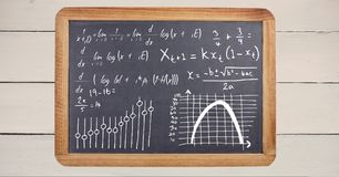Math equations on blackboard. Digital composite of math equations on blackboard Stock Image