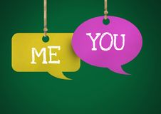 Me You text on hanging paper speech bubbles. Digital composite of Me You text on hanging paper speech bubbles Royalty Free Stock Image