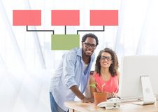 Man and woman meeting with mind map Royalty Free Stock Photography