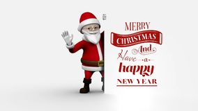 Merry Christmas and Happy New Year text with beautiful cozy Santa woman. Digital composite of Merry Christmas and Happy New Year text with beautiful cozy Santa stock footage