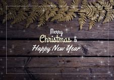 Merry Christmas and happy new year text on Christmas background with snow. Digital composite of merry Christmas and happy new year text on Christmas background vector illustration