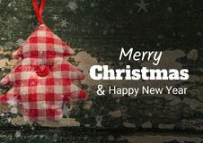 Merry Christmas and happy new year text on Christmas background with snow. Digital composite of merry Christmas and happy new year text on Christmas background stock illustration