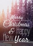 Merry Christmas and happy new year text on snow background. Digital composite of merry Christmas and happy new year text on snow background royalty free illustration