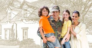Military soldier family in front of house drawing sketch royalty free stock photography