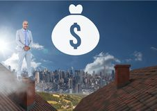 Money icon and Businessman standing on Roofs with chimney and city. Digital composite of Money icon and Businessman standing on Roofs with chimney and city Stock Image
