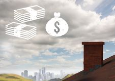 Money icons over roof and city. Digital composite of Money icons over roof and city stock photos