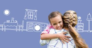 Mother hugging daughter with kitchen drawings. Digital composite of Mother hugging daughter with kitchen drawings royalty free stock photos
