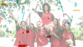 Female soccer team against colourful confetti. Digital composite of multi-ethnic female soccer team against coulorful confetti. They seem to have won stock illustration
