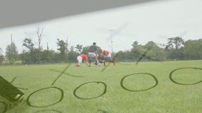 Rugby players training
