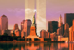 Digital composite: New York skyline, World Trade Center, Statue of Liberty Royalty Free Stock Images