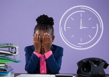 Office kid girl thinking against purple background with clock icon Stock Image