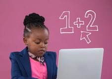 Office kid girl using a computer against pink background with education icons. Digital composite of Office kid girl using a computer against pink background with stock illustration
