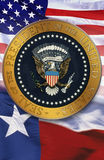 Digital composite: The official seal of the President, American flag, state flag of Texas Royalty Free Stock Photography
