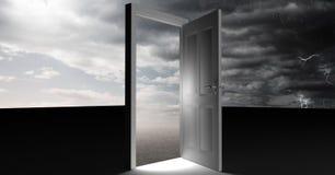 Open door with surreal grey cloudy sky. Digital composite of Open door with surreal grey cloudy sky Stock Images