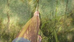 Walking on grass. Digital composite of a pair of legs wearing slippers walking on grass stock footage