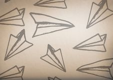 paper airplane graphics with rustic background royalty free stock photography