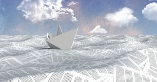 Paper boat on sea of documents under pastel sky clouds. Digital composite of Paper boat on sea of documents under pastel sky clouds stock photos
