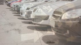 Parked cars. Digital composite of parked cars while background shows black asymmetrical lines stock video