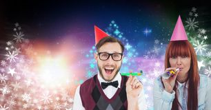 Party people celebrating and Snowflake Christmas tree colorful pattern shapes for New Year. Digital composite of Party people celebrating and Snowflake Christmas Royalty Free Stock Image