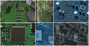 pcb collage, computer hardware collage Royalty Free Stock Photography