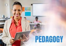 Pedagogy text and Elementary school teacher with class Royalty Free Stock Photos