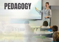 Pedagogy text and School teacher with class Royalty Free Stock Photography
