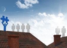 People icons on roofs with jigsaw puzzle piece Royalty Free Stock Photography