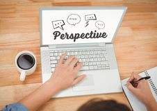 Perspectives text on laptop screen Stock Photography