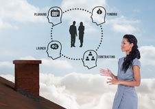 Planning and funding diagram and Businesswoman standing on Roof with chimney and blue sky. Digital composite of Planning and funding diagram and Businesswoman Stock Image