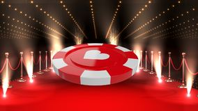 Poker Chip on red carpet video. Digital composite of poker chip against red carpet with lights on the background video stock footage