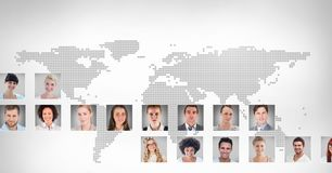 portrait profiles of different people around the world stock photo