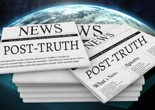 Post-truth text on newspapers stacked over planet earth world. Digital composite of Post-truth text on newspapers stacked over planet earth world Royalty Free Stock Photography
